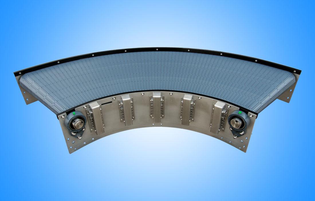 Curved transport belts